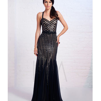 LM by Mignon HY1256 Black & Nude Sequined Stripes Gown 2015 Prom Dresses