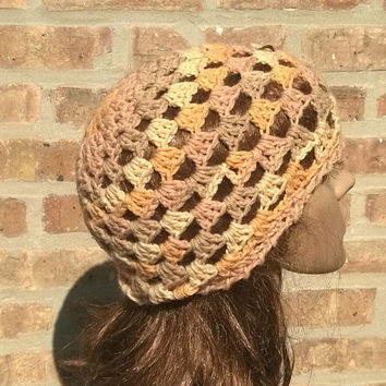 Ready to Ship - Womens Hat - Crochet Bohemian Hat - Womens Beanie in Almond - The Juliet Cap in Autumn