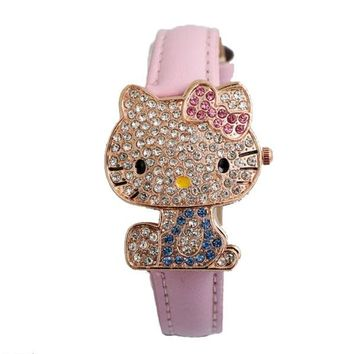 Hot Sales Cute Hello Kitty Watch Children Girls Women Fashion Crystal Dress Quartz Wristwatch 048-28