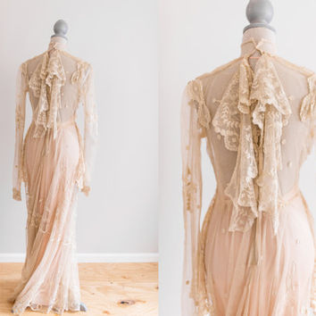 Sale Cream Antique Victorian Sheer Irish Lace Wedding Dress withSatin Slip