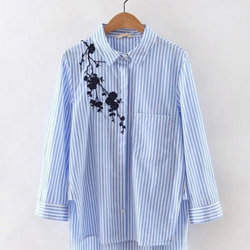 Autumn Floral Embroidery Stripes Shirt [6332330692]