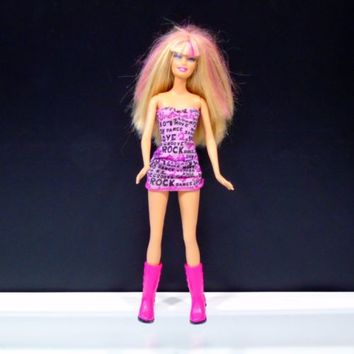 Mattel Barbie Doll 1998 Head 1999 Body Blonde Hair Pink Highlights Rock Dress