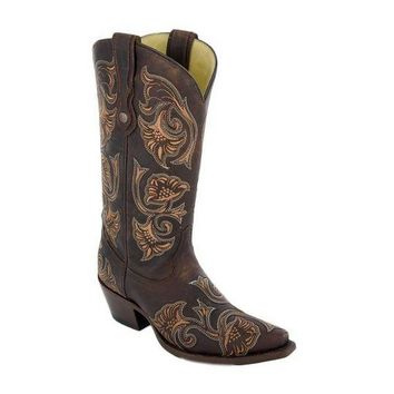 LMFYW3 Corral Brown Floral Embroidered Leather Boots G1122