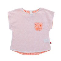 Billieblush Jersey Tee Shirt with Pocket and Embroidered Back in Candy -U15139/11703A - FINAL SALE