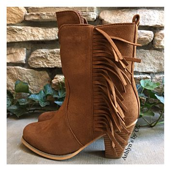 Always in Style Fringe Heel Tan Bootie Boots