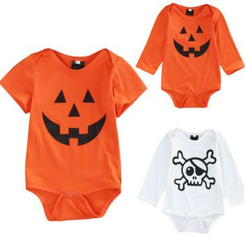 Cute Halloween Newborn Baby Boys Girls Clothes Orange Pumpkin Bodysuits Baby Halloween Costume Bodysuits Jumpsuit Outfits 0-18M