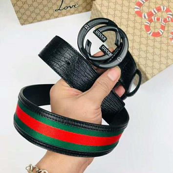 GUCCI Fashionable Woman Men Red Green Stripe Smooth Buckle Leather Belt