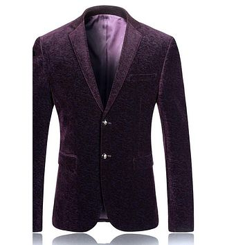 Men Blazer Designs Slim Fit Men Corduroy Blazers Man Blazer Casual Suit Jacket Burgundy Blue
