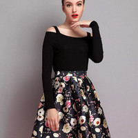 Black Floral A-line Mini Skater Skirt