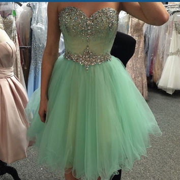 Homecoming Dress,Green Chiffon Crystals Beading Strapless Short Prom Dress