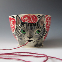 Yarn Bowl - Made to Order Knitty Kitty Cat knitting bowl
