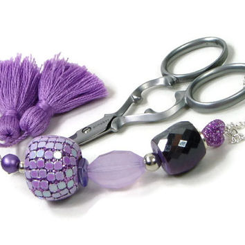 Beaded  Scissor Fob Purple Lavender DIY Crafts Cross Stitch Needlepoint Sewing Quilting Gift for Crafter
