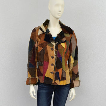 Vintage 90s Colorful Patchwork Sheepskin Jacket, Pelle Studio Wilsons Leather, Shaggy Fur Jacket, Suede Jacket Size L XL