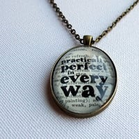 Bronze pendant necklace Mary Poppins book page with typographic quote