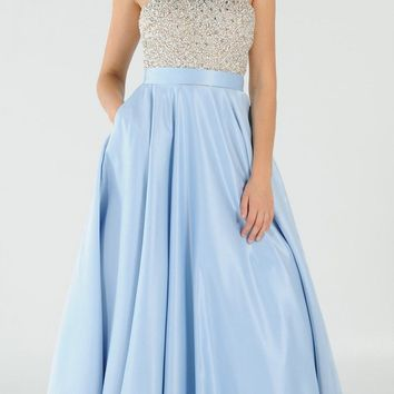 Blue Halter Beaded Open Back Long Prom Dress with Pockets