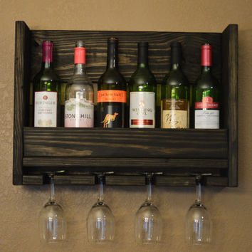 Rustic 6 bottle Wine Rack with 4 glass holder Reclaimed Wood