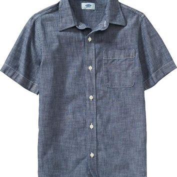 Old Navy Boys Short Sleeved Chambray Shirts