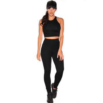 Slim black round neck sleeveless vest fashion high waist pants two-piece tracksuit