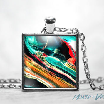 Abalone Gemstone Necklace, Faux Gems, Pendant Necklace, Dome Glass Jewelry, Gemstone Jewelry
