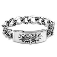 Stainless Steel Vintage Cross Link Men's Bracelet