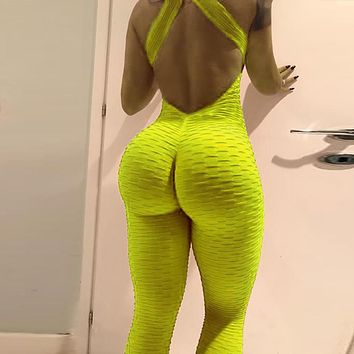 Women Jumpsuit Set Sexy Backless Fitness Rompers