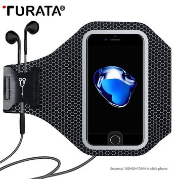 Turata 5.5 inch Universal Sport Running Arm Band Packs For iPhone 5 5S SE 6 6S 7 Plus Reflective Mobile Phone Holder Pouch Case