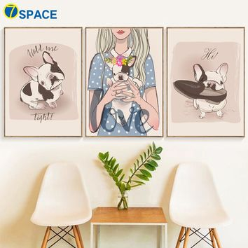 Watercolor Girl Bulldog Posters And Prints Wall Art Canvas Painting Nordic Poster Animal Wall Pictures Baby Kids Room Home Decor