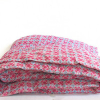 Vintage 60's Heavy Coverlet Quilt Comforter w Pink Floral Print