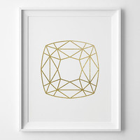 Geometric Square Print, Modern Bedroom Decor, Minimal Art, Matte Faux Gold Faceted Square, Modern Geometric Art, Gold and White Bedroom