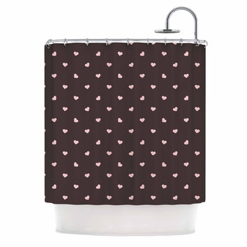 """Vasare Nar """"Gray Hearts And Love"""" PInk Digital Shower Curtain"""