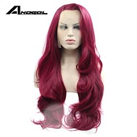 Anogol Synthetic Lace Front Wig Natural Long Wave Wine Red Glueless Handmade Heat Resistant Fiber Fully Hairline Hair Women Wigs