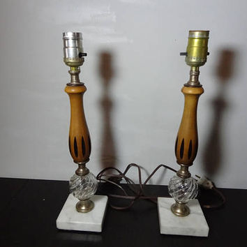 Vintage Mid Century Modern Danish Style Two Tone Wood, Marble, and Glass Lamps - Set of 2 - No Shades