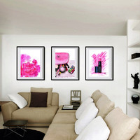 Pink Chanel Set of 3 Chanel perfume no 5 lipstick pipe bathroom print Printable Wall Art pink bathroom decal makeup poster lip stick deco