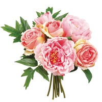 "Silk Peony and Rose Bouquet in Pink - 12"" Tall"
