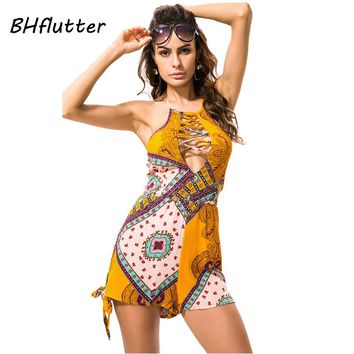 Summer Jumpsuits Tops and Shorts New Fashion Women Sexy Backless Rompers Floral Print Bohemian Style Casual Playsuits