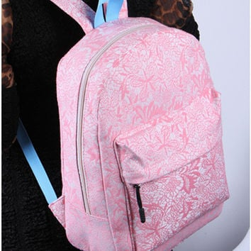 Women's Students School Bags Lace Backpack High Quality Double Shoulder Bag Canvas Pink Backpack