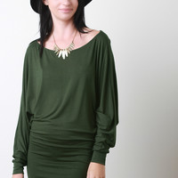Jersey Knit Dolman Sleeve Mini Dress