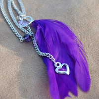 Purple Feather Neacklace by MarcieRoxx on Etsy