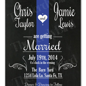 Thin Blue Line Design with Chalkboard Background Printable Wedding Invitation and Matching RSVP Card