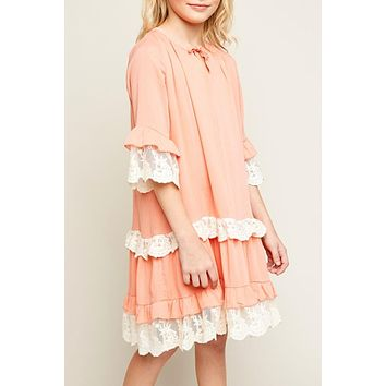 Back To School Little Miss Pre-Teen Hayden Peach Sheer Lace Tunic Dress With Front Tie