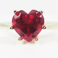Ruby Heart Ring 14k Yellow Gold, July Birthstone Ring, Solid 14 Karat Gold Ring, Yellow Gold Ruby Ring, Ruby Heart Ring