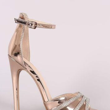Qupid Metallic Open Toe Rhinestone Stiletto Heel