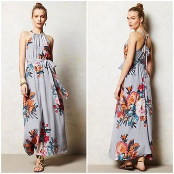 Summer Vintage Long Evening Party Beach Dress  Floral Sundress