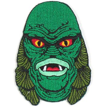 Creature From The Black Lagoon Men's Creature Head Patch Embroidered Patch Green