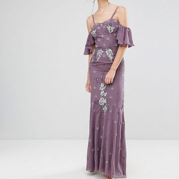 Maya Tall All Over Embellished Corset Top Maxi Dress With Cold Shoulder at asos.com