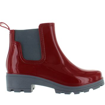 Kixters Fisher - Burgundy Shiny Short Pull-On Rubber Rain Boot