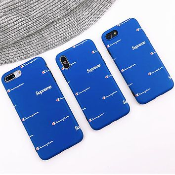 Champion x Supreme co-branded tide brand iphone8plus silicone soft cover Blue