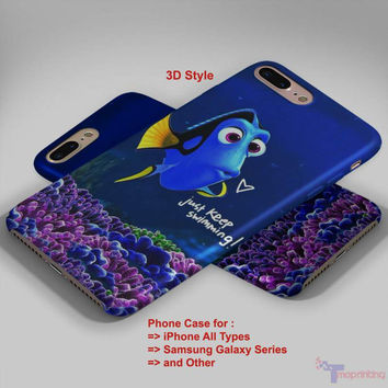 just keep swimmning Dory Nemo - Personalized iPhone 7 Case, iPhone 6/6S Plus, 5 5S SE, 7S Plus, Samsung Galaxy S5 S6 S7 S8 Case, and Other