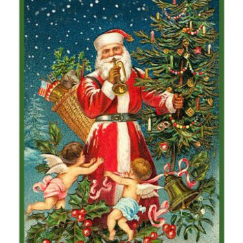 Victorian Father Christmas Santa with Cherubs and Christmas Tree Counted Cross Stitch or Counted Needlepoint Pattern