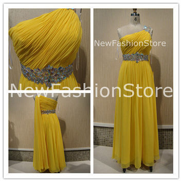 One Shoulder Beading Sleeveless Beading Floor Length Prom Dress